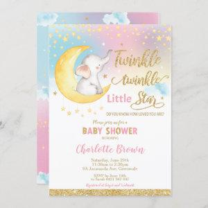 Twinkle Little Star Elephant Baby Shower Girl Invitation