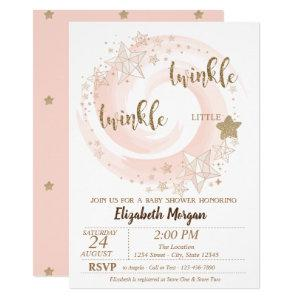 Twinkle Little Star Glitter Baby Shower Invitation