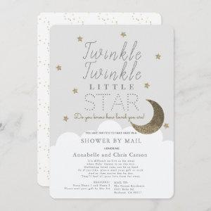 Twinkle Little Star Gray Baby Shower by Mail Invitation
