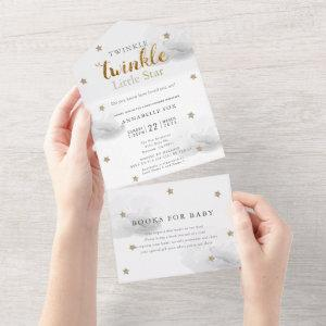 Twinkle Little Star Gray Book Baby Shower All In One Invitation