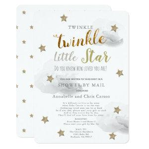 Twinkle Little Star Gray Cloud Baby Shower By Mail Invitation