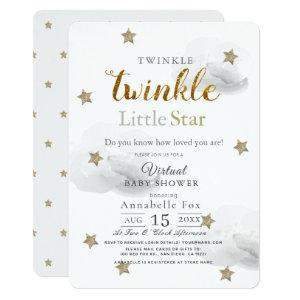 Twinkle Little Star Gray Virtual Baby Shower Invitation