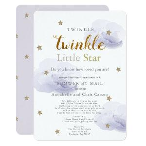 Twinkle Little Star Lavender Baby Shower by Mail Invitation