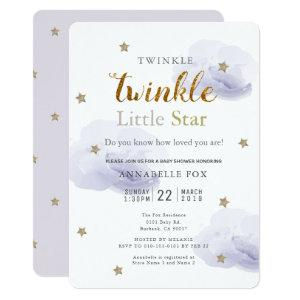 Twinkle Little Star Lavender Baby Shower Invitation