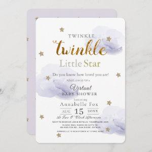 Twinkle Little Star Lavender Virtual Baby Shower Invitation