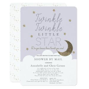 Twinkle Little Star Lilac Baby Shower by Mail Invitation