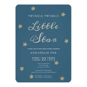 Twinkle Little Star Navy Baby Shower Invitation