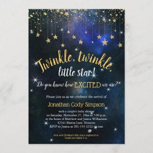 Twinkle Little Star Navy Gold Galaxy Baby Shower Invitation
