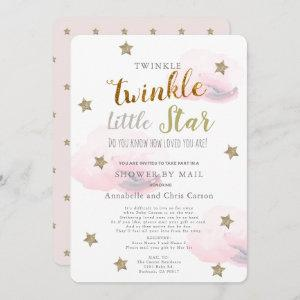 Twinkle Little Star Pink Cloud Baby Shower By Mail Invitation