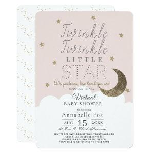 Twinkle Little Star Pink Girl Virtual Baby Shower Invitation