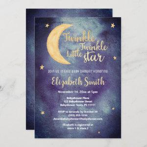 Twinkle little star water color baby shower invitation