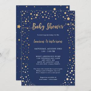 Twinkle Navy Gold Star Baby Shower Invitation