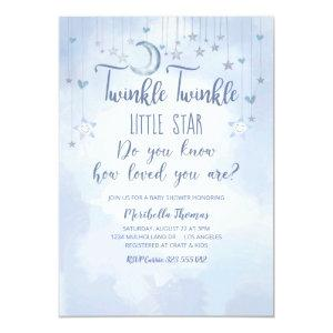 Twinkle Twinkle Little Star and Moon Baby Shower Invitation