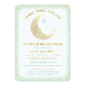 Twinkle Twinkle Little Star Baby Shower Mint Gold Invitation