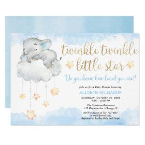 Twinkle twinkle little star blue gold baby shower invitation