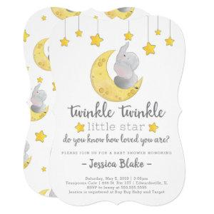 'Twinkle Twinkle Little Star' Elephant Baby Shower Invitation