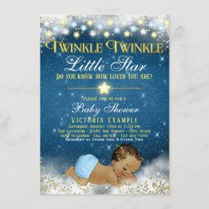 Twinkle Twinkle Little Star Ethnic Baby Boy Shower Invitation