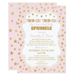 Twinkle Twins Baby Sprinkle, twin girls shower Invitation