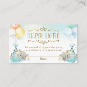 Twins Baby Boys Elephant Diaper Raffle Ticket Enclosure Card