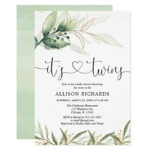 Twins baby shower greenery and gold simple elegant invitation