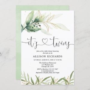 Twins baby shower greenery and gold simple elegant