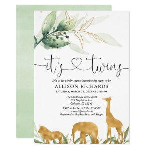 Twins baby shower safari animals greenery shower invitation