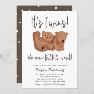 Twins Bear Baby Shower Invitation