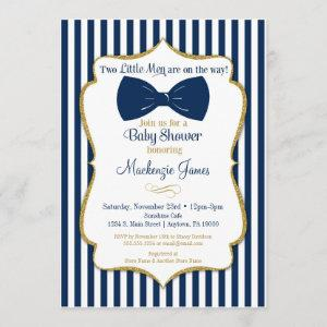 Twins Boy Baby Shower  Blue Gold Bow Tie