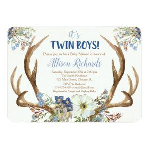 Twins boy baby shower invitation deer antlers boho