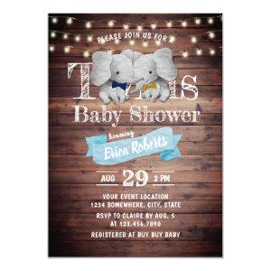 Twins Boy Elephant Rustic Barn Baby Shower Invitation