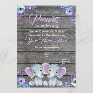 Twins Elephant Baby Shower Invitation rustic, teal