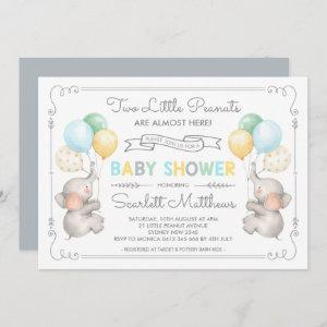 Twins Elephant Baby Shower Pastel Balloons Invite