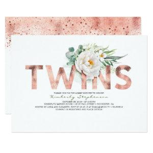 Twins Floral Rose Gold Typography Baby Shower Invitation