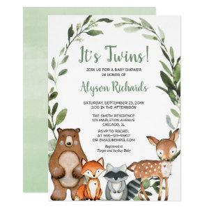 Twins gender neutral woodland greenery baby shower invitation