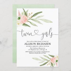 Twins girls, greenery gold pink floral baby shower