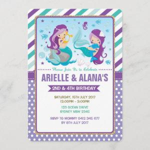 Twins Mermaid Birthday Invitation Sisters Siblings
