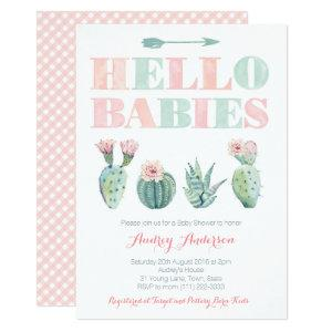 Twins or Joint Baby Shower Party with Succulents Invitation