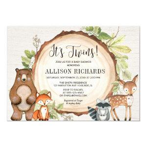 Twins rustic woodland gender neutral baby shower invitation