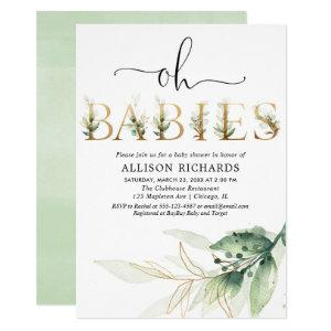 Twins triplets gender neutral greenery baby shower invitation