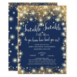 Twins Twinkle Twinkle Little Stars Baby Shower Invitation