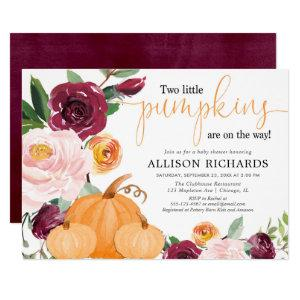Twins two little pumpkins fall floral baby shower invitation