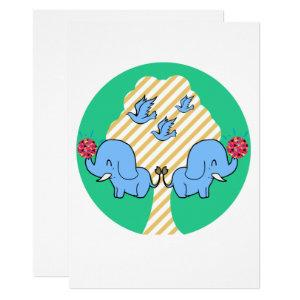 Two elephants make friends, bright forests invitation