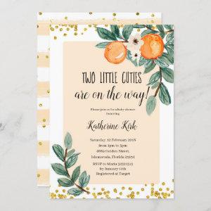 Two Little Cuties are on the way Baby Shower Invitation