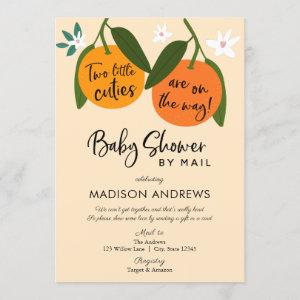 Two Little Cuties Twin Baby Shower by Mail Invitation
