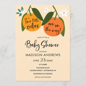 Two Little Cuties Twin Baby Shower Invitation