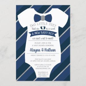 Two Little Feet Baby Shower Invitation, Bow Tie Invitation