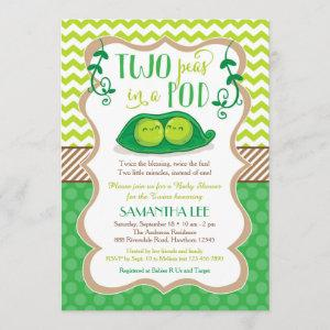 Two Peas in a Pod Baby Shower, Twins Invitation