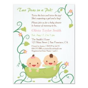 Two Peas in a Pod Twin Baby Shower Invitations