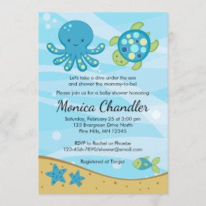 Under the Sea Blue Baby Shower Invitation Card