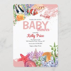 Under the Sea Pink Baby Shower Invitation